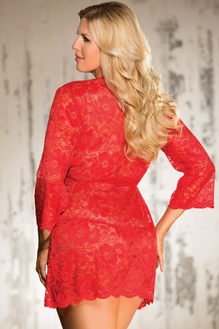 Scalloped Stretch Lace Robe