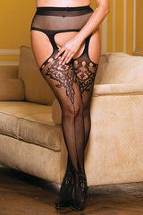 Lace Pattern Fishnet Suspender Pantyhose