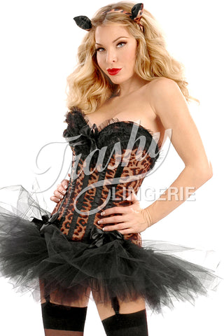Carousel Leopard Corset with Garters