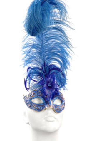 Blue & Blue Glitter Feather Mask