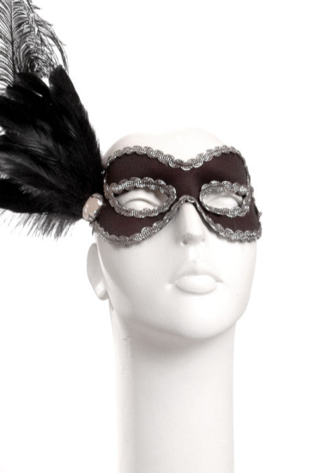 Black Side Feather Mask with Jewel & Silver Trim