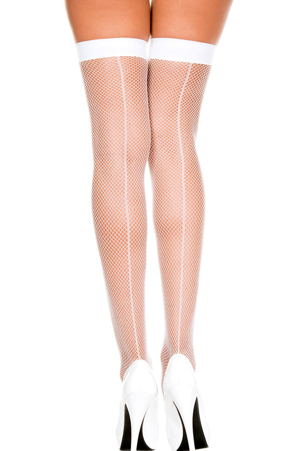 Seamed Fishnet Thigh Highs