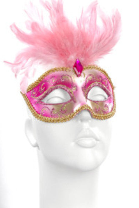 Pink & Gold Feather Mask