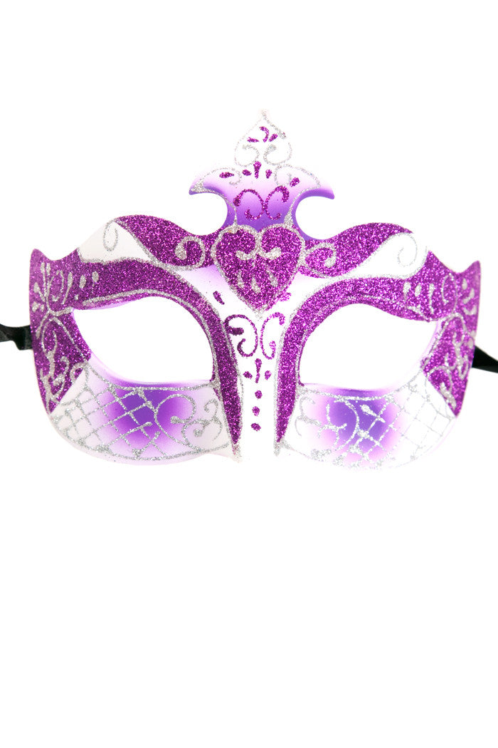 Purple/White Glitter Mask