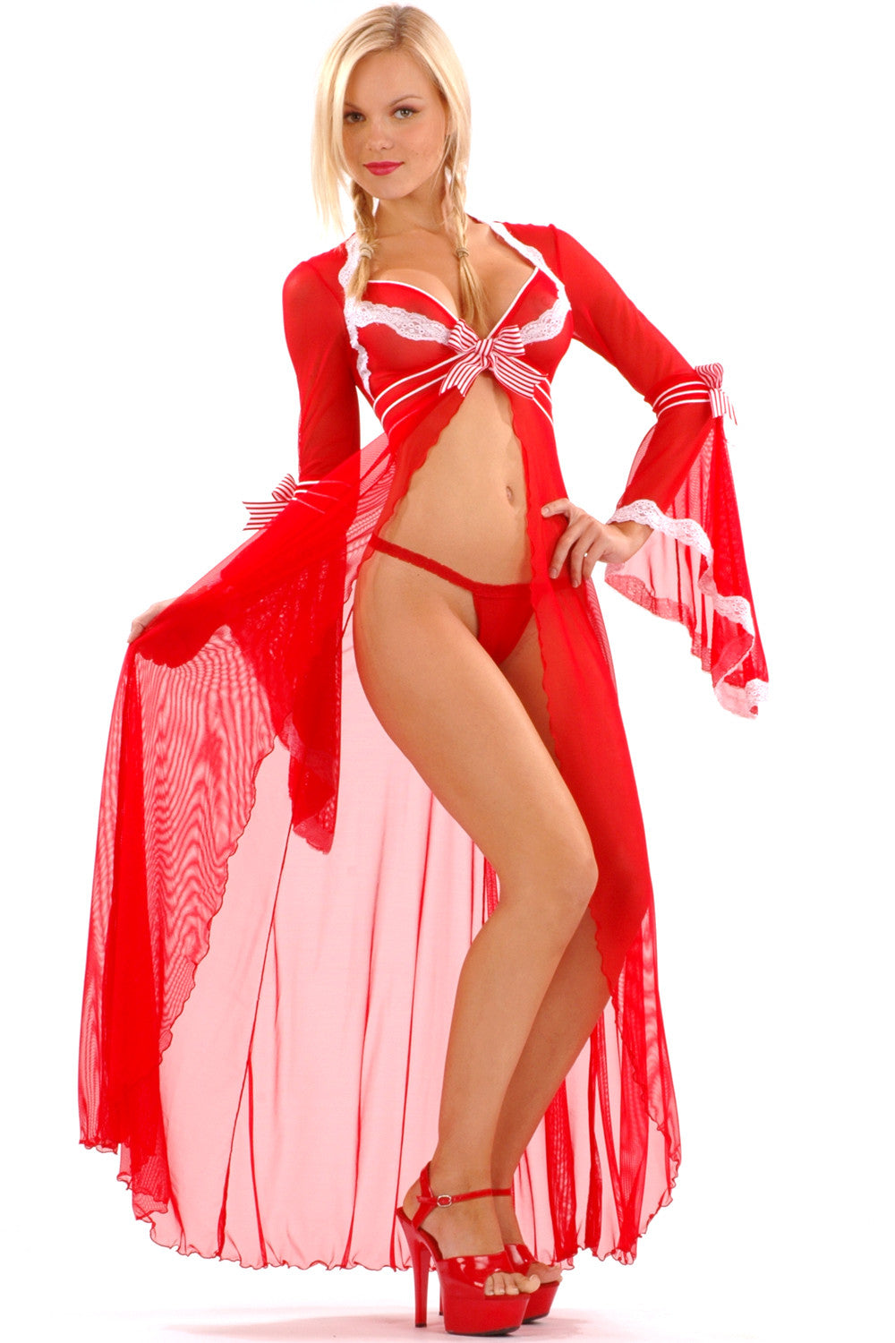 Sheer Peppermint Long Robe