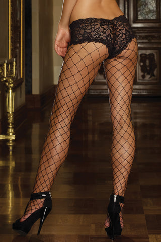 Fence Net Pantyhose with Lace Boyshorts