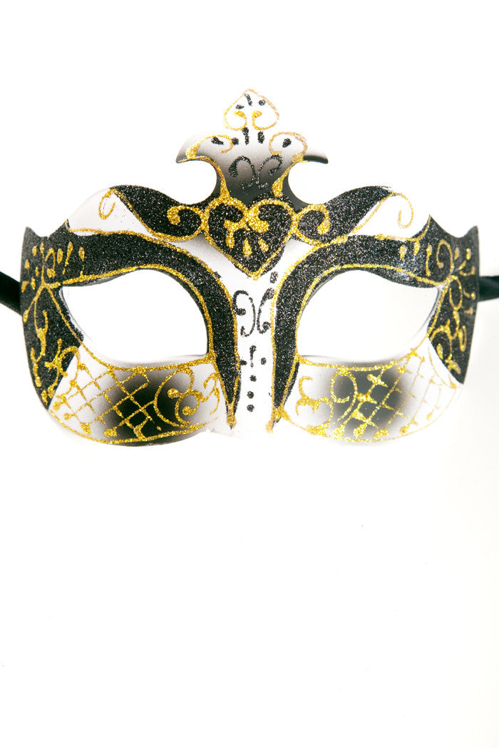 Black/White Glitter Mask
