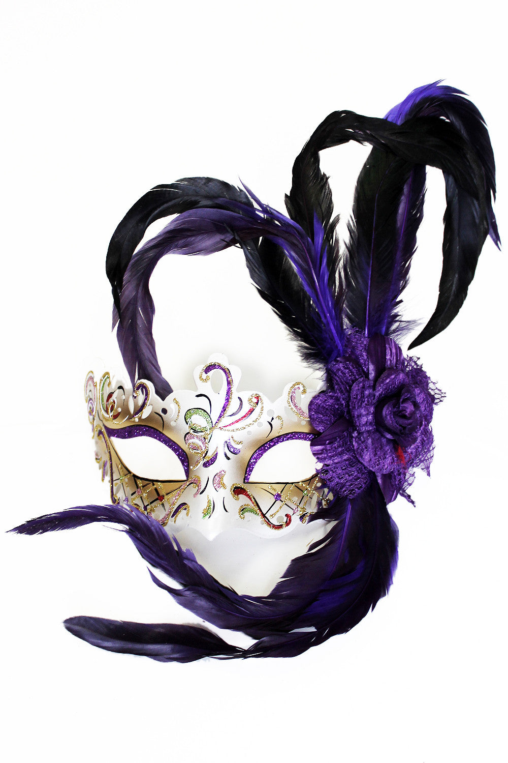 Purple Rose Feather Mask