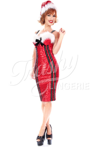 Sequined Christmas Vixen Pencil Dress