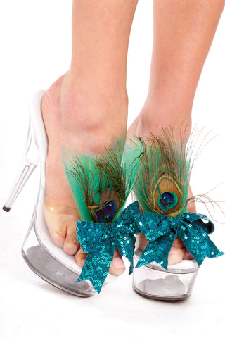 Sequined Peacock Shoe Clips