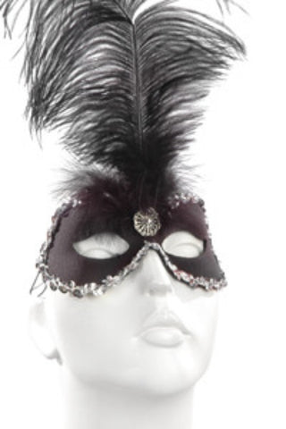 Black & Silver Feather & Sequins Mask
