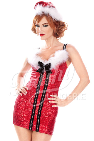 Sequined Christmas Vixen Short Dress