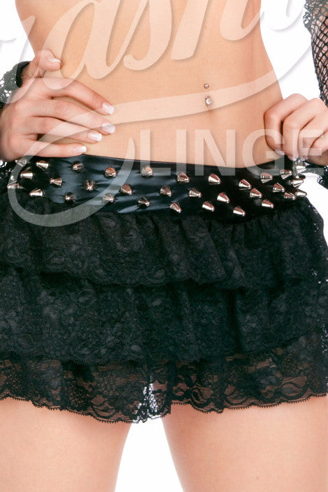 Rebel Yell Studded Ruffle Skirt