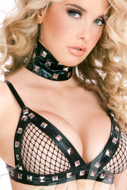 Rebel Yell Fishnet Bra with Studs(Unlined)