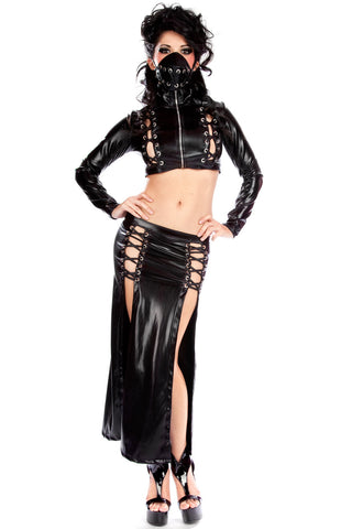 Toxic Long Lace-Up Skirt