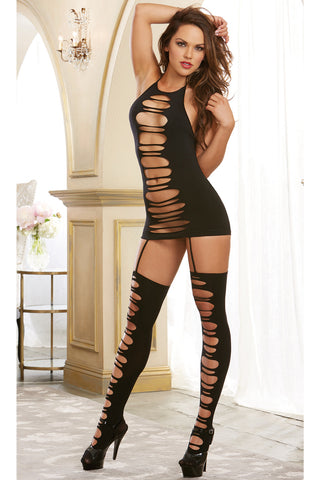 Opaque Slasher Suspender Bodystocking