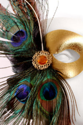Gold Pheasant & Peacock Feathers Mask