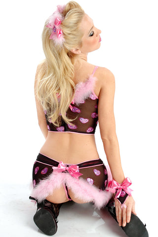 Heart Attack Bow Back Garter Skirt