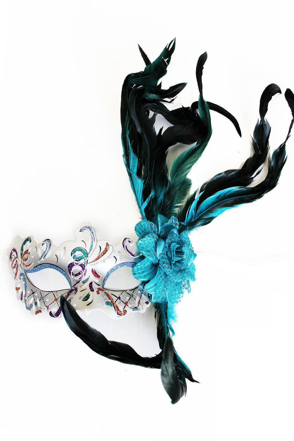 Turquoise Rose Feather Mask