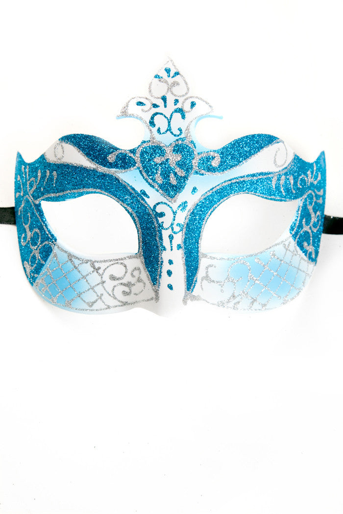 Blue/White Glitter Mask