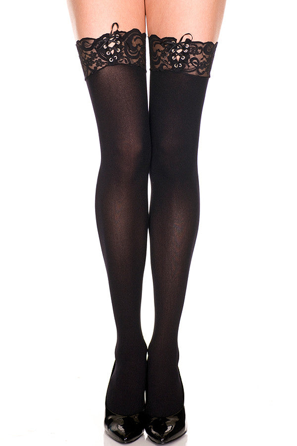 Lace-Up Top Opaque Stockings