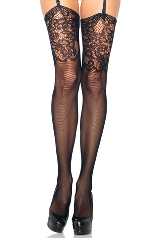 Jacquard Lace Top Fishnet Stockings