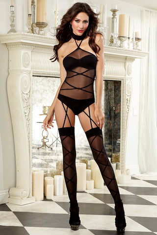 Strappy Halter Teddy Bodystocking