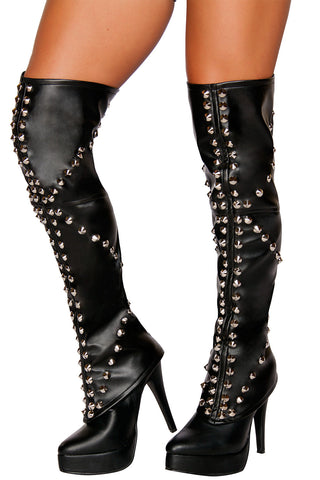 Studded Faux Leather Leggings
