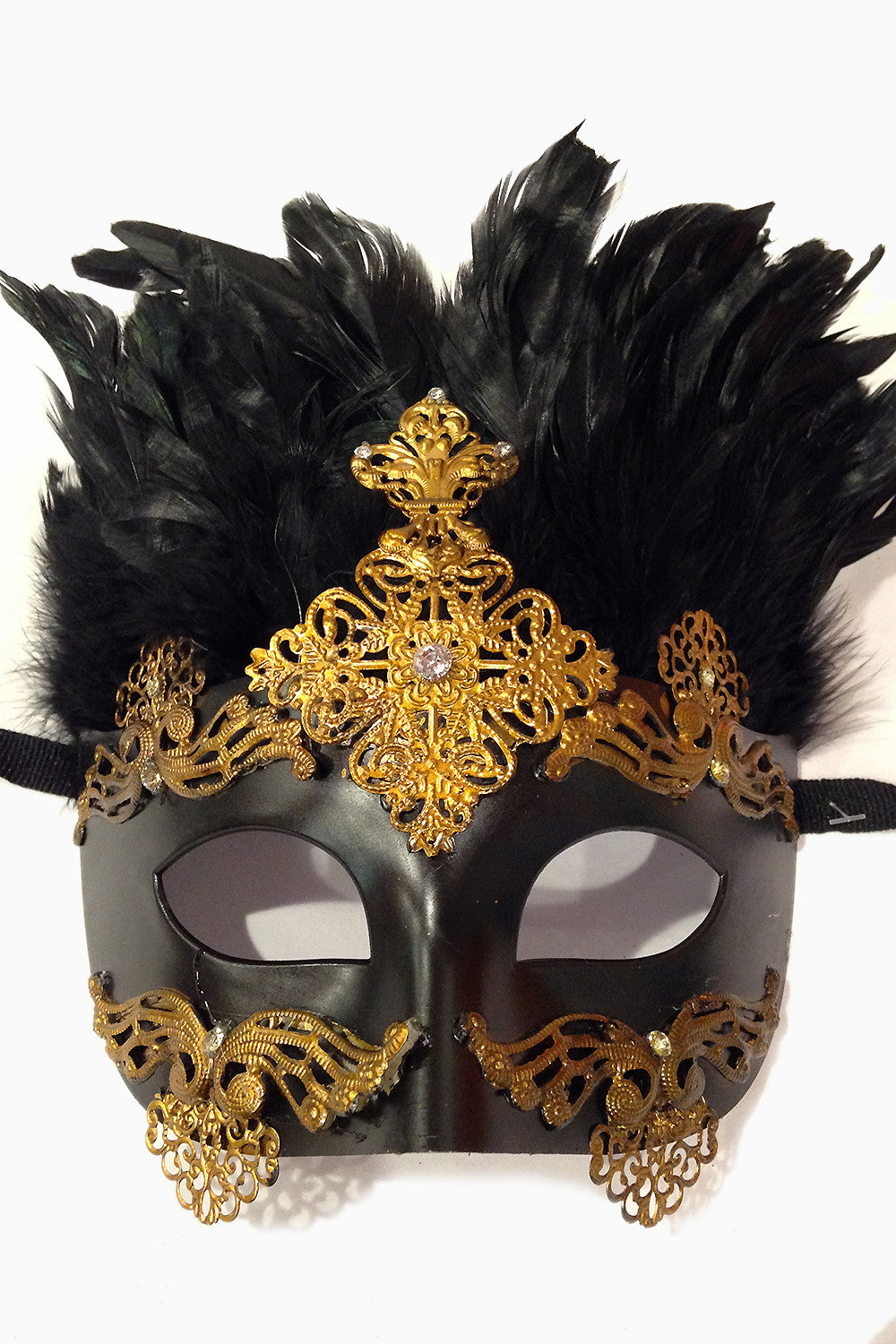 Gold Filigree Feather Mask