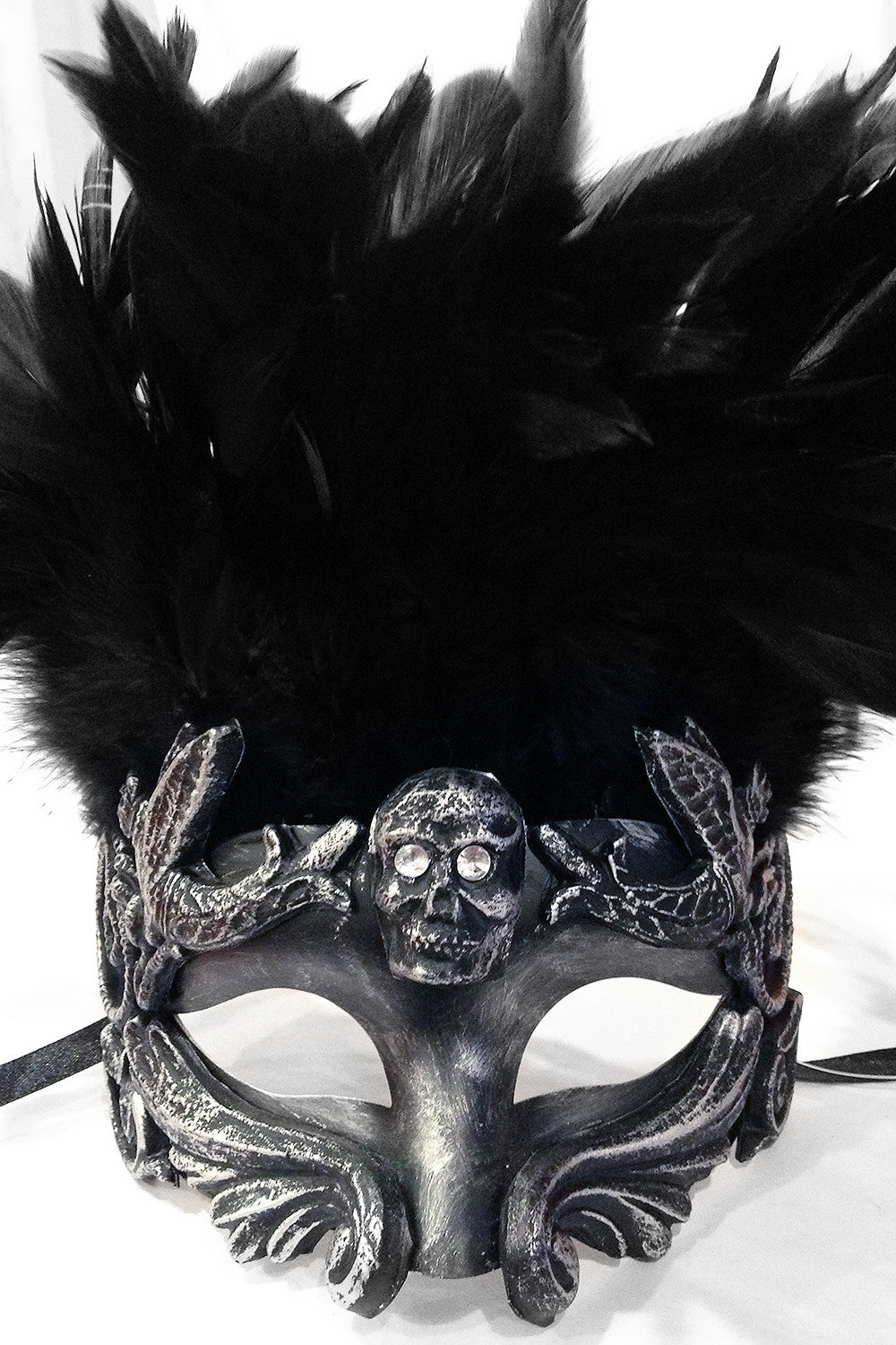Distressed Silver Skull Feather Mask
