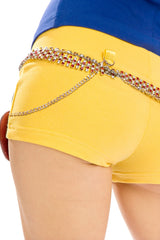 Snow White Booty Shorts with Purse & Chain