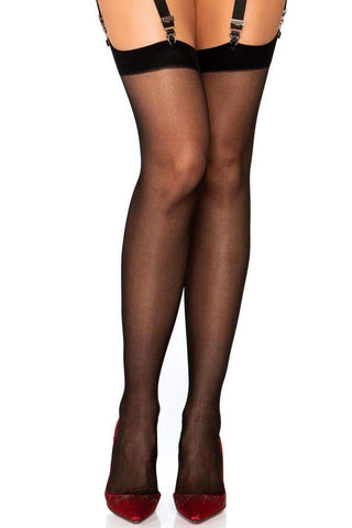 Sheer Contrast Seamed Stockings