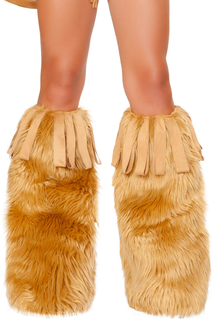 Fringed Fur Leg Warmers