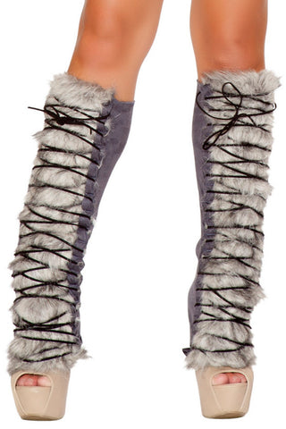 Fur/Suede Lace-Up Leg Warmers