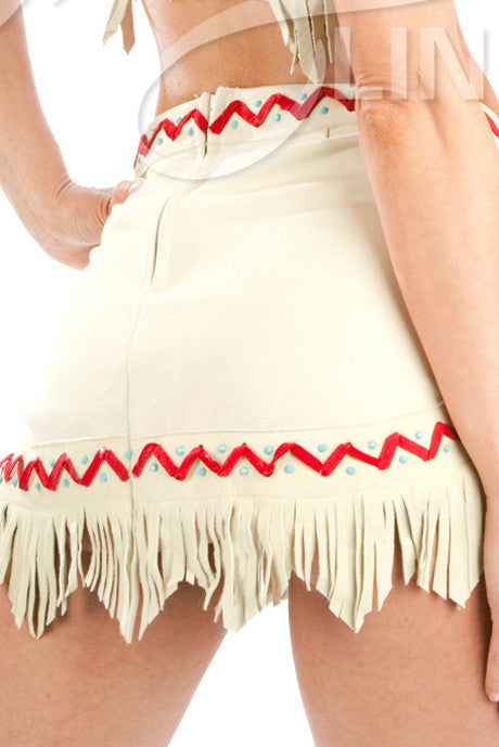 Lil White Dove Indian Fringe Skirt #2