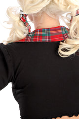 Cabbage Tie Top with Plaid Collar