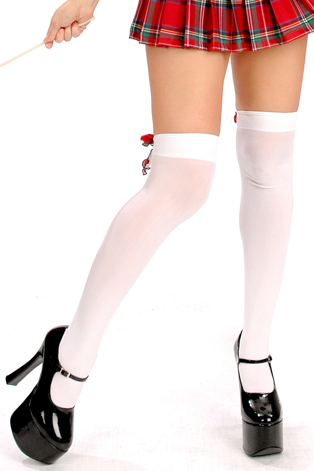 Opaque Thigh Highs with Cabbaged Plaid Bows