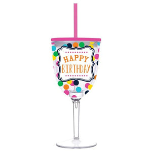 Double-Wall Happy Birthday Wine Glass