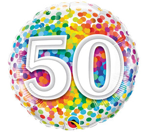 "Birthday Milestone Rainbow Confetti 18"" Balloon"