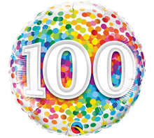 "Load image into Gallery viewer, Birthday Milestone Rainbow Confetti 18"" Balloon"