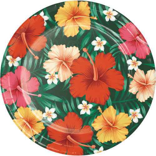 Luau Party Hibiscus Flower Large Plates (8)