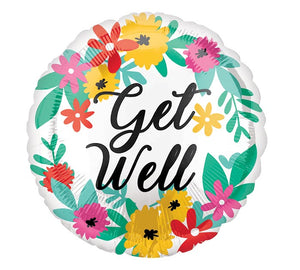 "Get Well Floral 18"" Balloon"