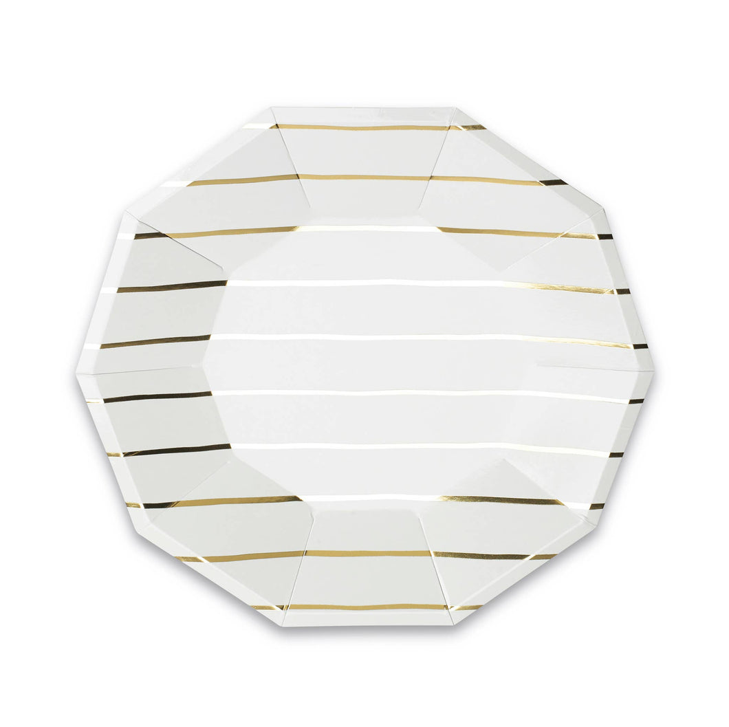 Frenchie Metallic Striped Large Plates (8)