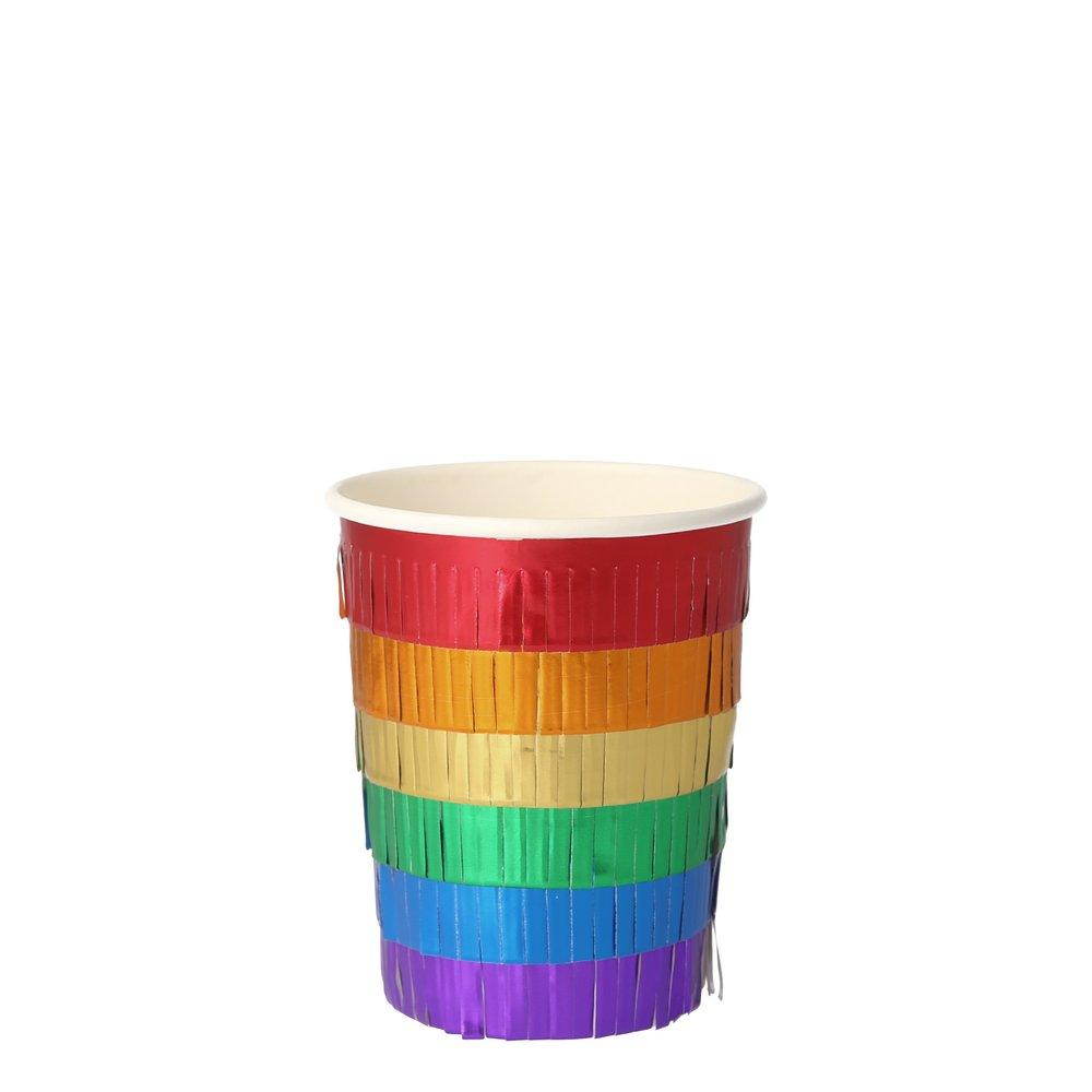 Rainbow Fringe Party Cups (8)