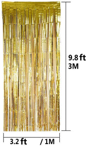 1 x Gold Fringe Door Curtain/Backdrop (3.2 ft x 9.8 ft)