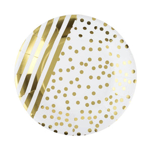 "Gold Striped and Dot 7"" Paper Plate (8)"