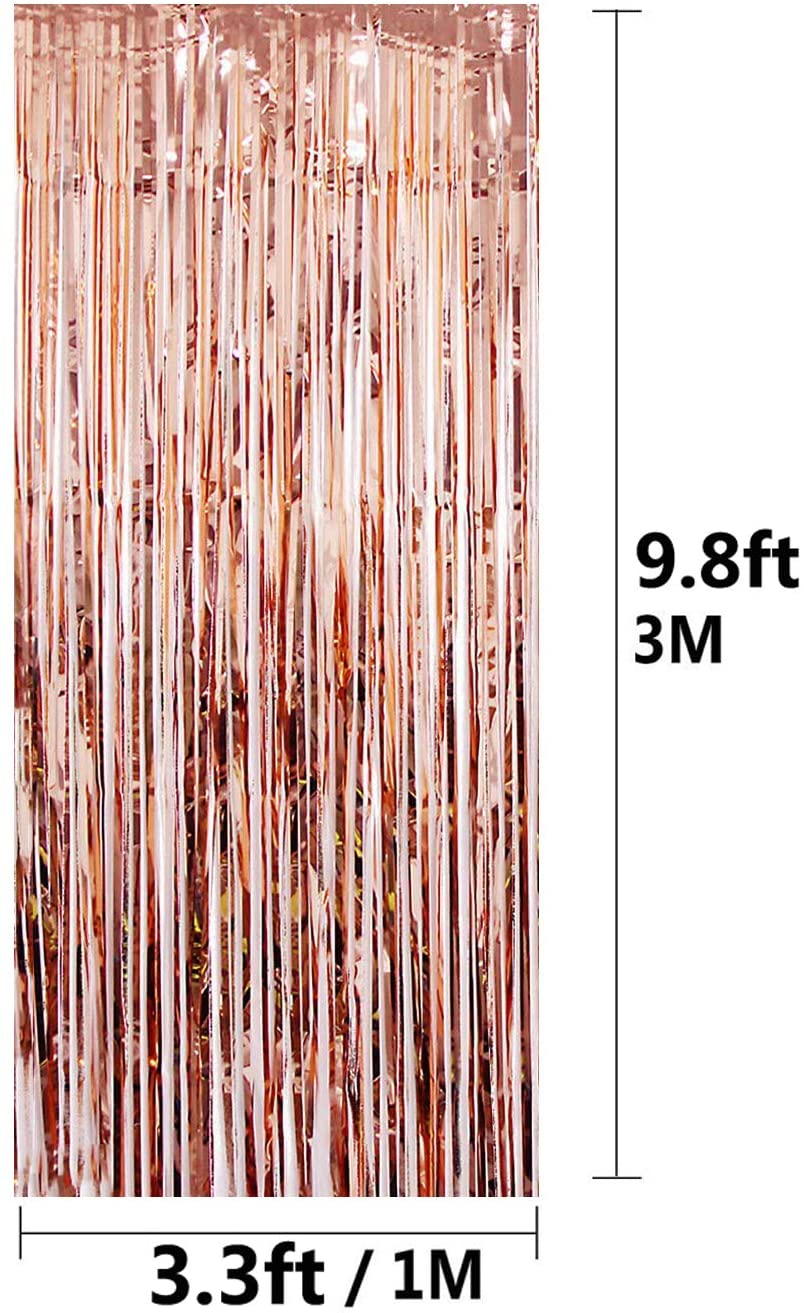 1 x Rose Gold/Pink Fringe Door Curtain/Backdrop (3.2 ft x 9.8 ft)