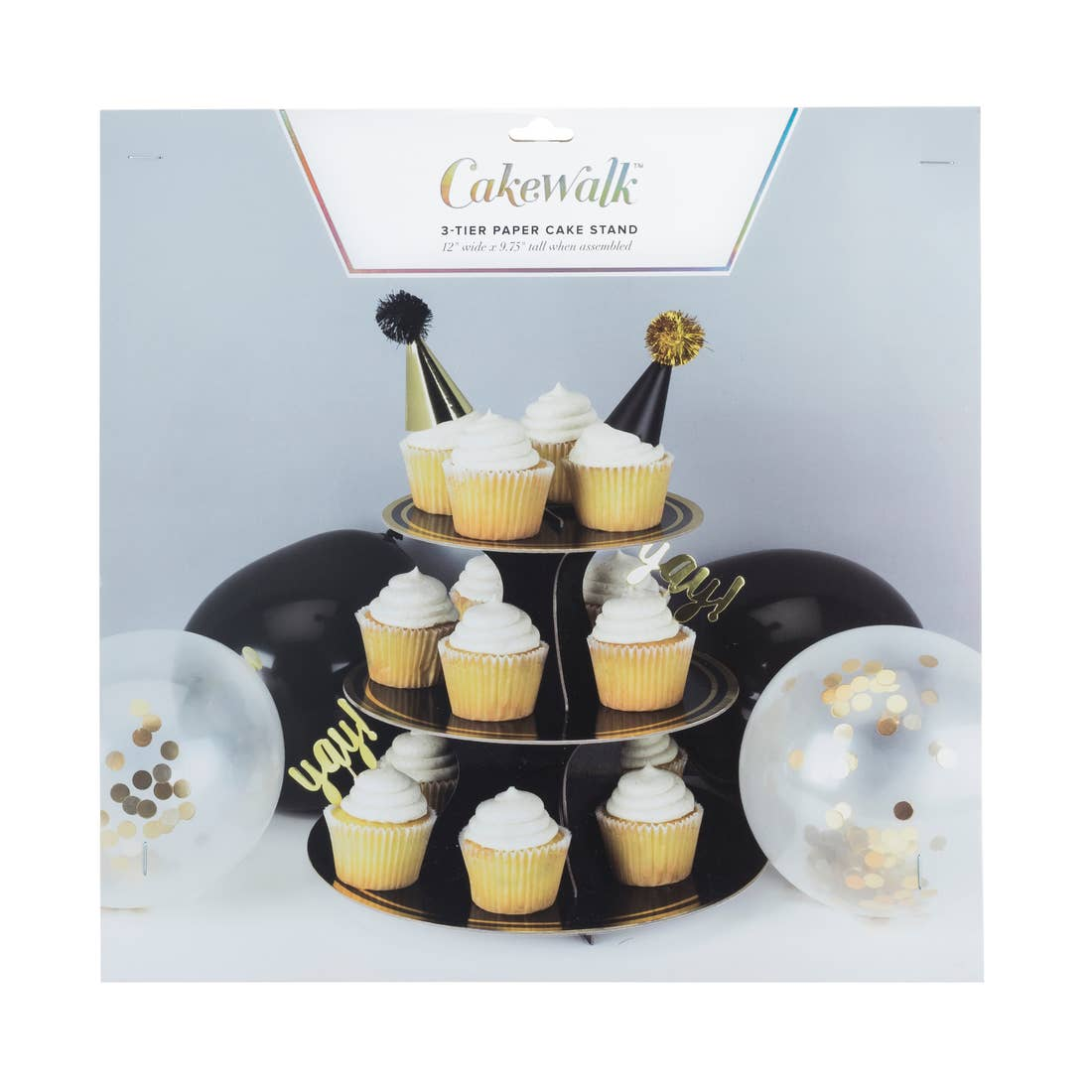 Noir and Gold Paper Cake Stand