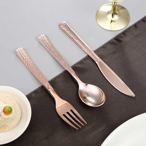 Metallic Hammered Plastic Utensils (24 Pack)