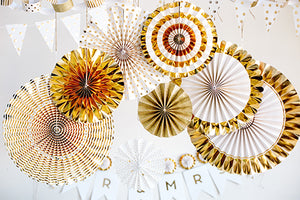 Gold Fancy Party Paper Fans